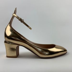 VALENTINO Ankle Strap Pump Gold Shoes Heels 38.5